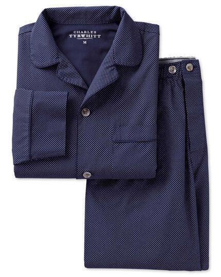 Pyjama-Set aus Baumwolle in Marineblau mit Punkten