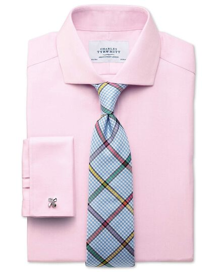 Extra slim fit cutaway collar non-iron herringbone light pink shirt