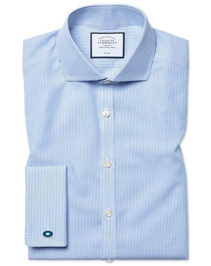 Super slim fit spread collar non-iron Bengal stripe blue shirt