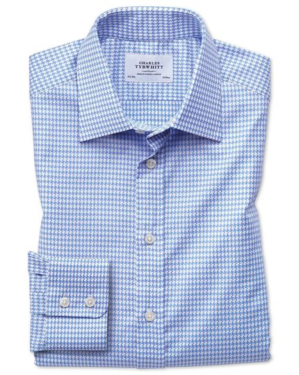Classic fit large puppytooth sky blue shirt