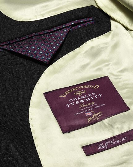 Charcoal slim fit British Panama luxury suit jacket