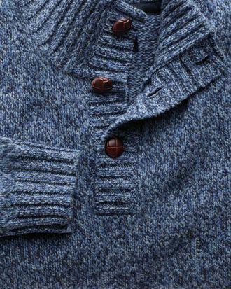 Mouline Pullover mit Knopfkragen in Blau