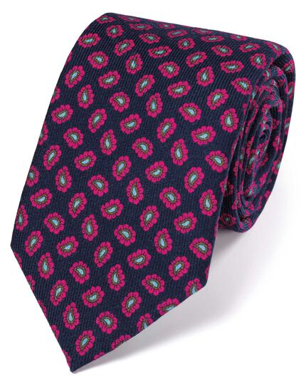 Navy and pink silk print luxury tie