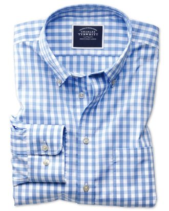 Slim fit button-down non-iron poplin sky blue gingham shirt
