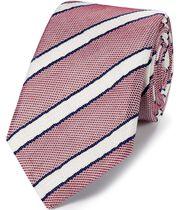 Red and blue silk mix grenadine stripe Italian luxury tie
