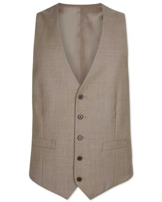 Fawn adjustable fit twill business suit waistcoat