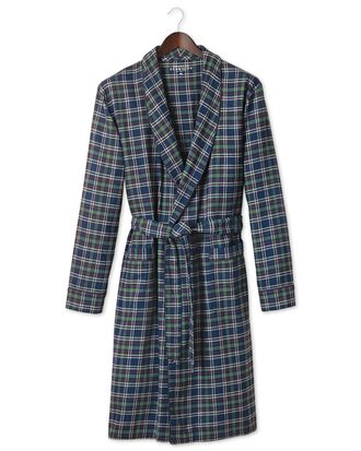 Navy check cotton robe