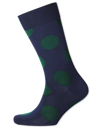 Chaussettes bleu marine et vertes à gros pois