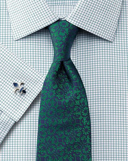 Classic fit non-iron Windsor check green shirt