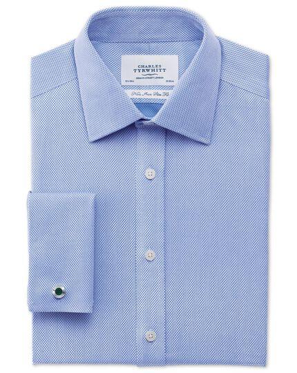 Slim fit non-iron diamond weave sky blue shirt