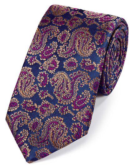 Brown silk woven paisley English luxury tie