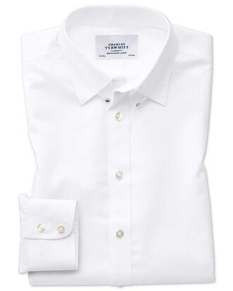Slim fit tab collar non-iron twill white shirt