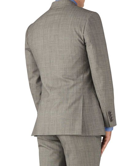 Slim Fit Panama-Businessanzug Sakko in Grau mit Prince-of-Wales-Karos