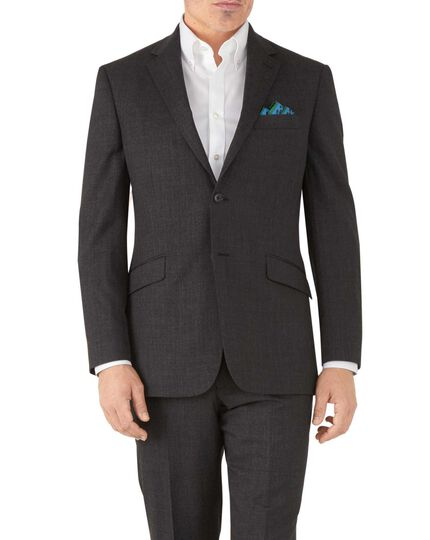 Charcoal classic fit hairline business suit jacket