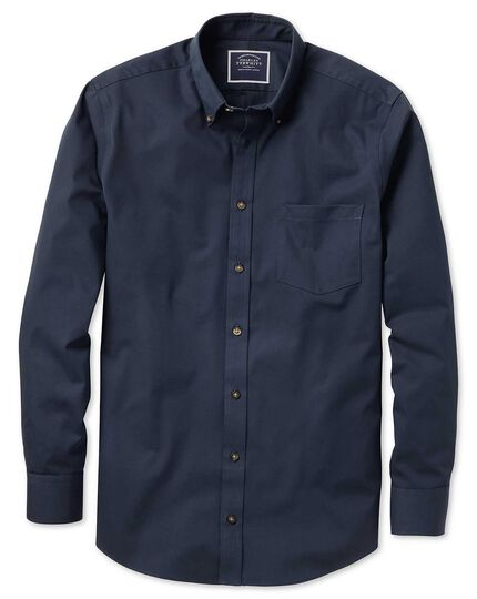Extra slim fit button-down non-iron twill navy blue shirt