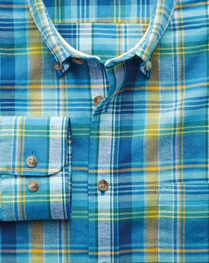 Classic Fit Hemd in Grün und Blau mit Karos