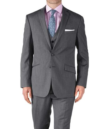 Silver slim fit twill business suit jacket