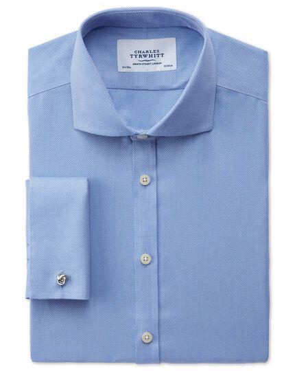 Extra slim fit cutaway collar non-iron mini herringbone blue shirt