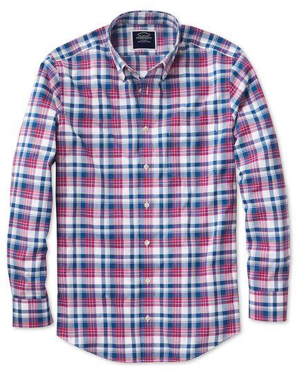 Chemise rose et bleu marine en popeline coupe droite