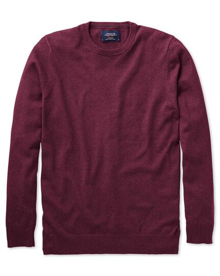 Wine cotton cashmere crew neck jumper