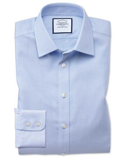 Chemise bleu ciel en tissage échelle extra slim fit sans repassage