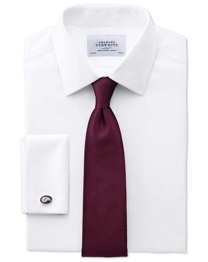 Slim fit non-iron honeycomb white shirt