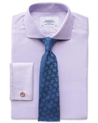 Slim fit cutaway collar non-iron herringbone lilac shirt