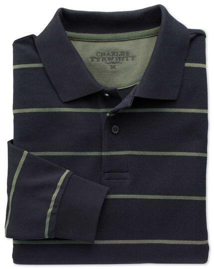 Navy and green stripe pique long sleeve polo