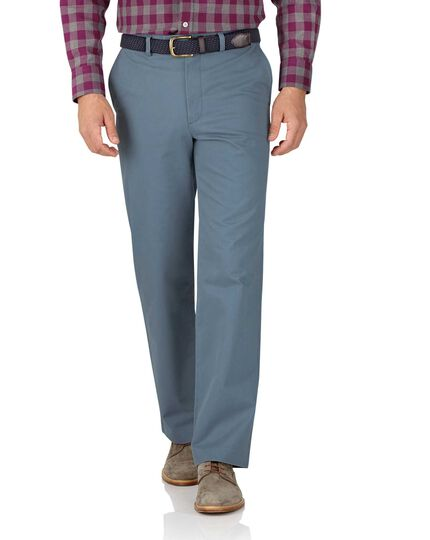 Light blue slim fit flat front weekend chinos