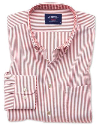 Slim fit button-down non-iron Oxford Bengal stripe rust shirt