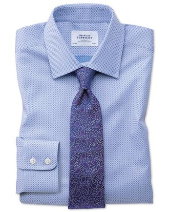 Classic fit Egyptian cotton spot weave sky blue multi shirt
