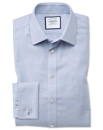 Chemise bleue en tissage échelle extra slim fit sans repassage