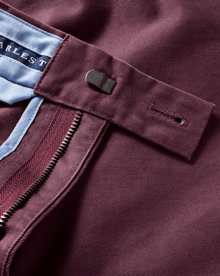 Wine slim fit flat front chinos