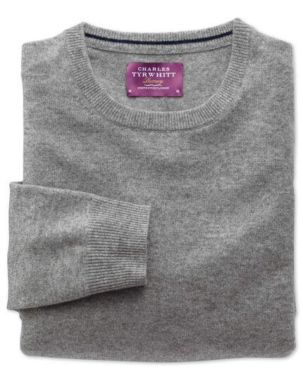 Silver cashmere crew neck jumper