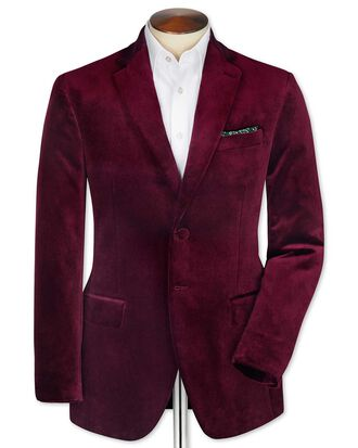Blazer bordeaux en velours slim fit