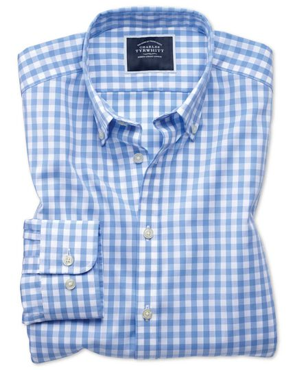 Extra slim fit button-down non-iron poplin sky blue gingham shirt