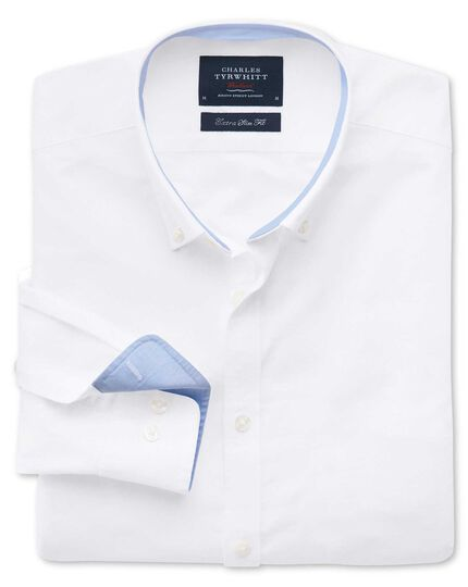 Extra slim fit white washed Oxford shirt