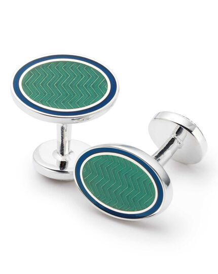 Green wave oval enamel cuff links