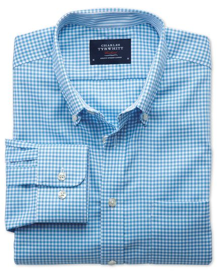 Slim fit non-iron Oxford chambray gingham blue shirt