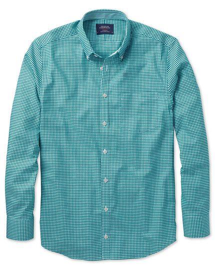 Bügelfreies Extra Slim Fit Oxfordhemd in Grün in Gingham-Karos