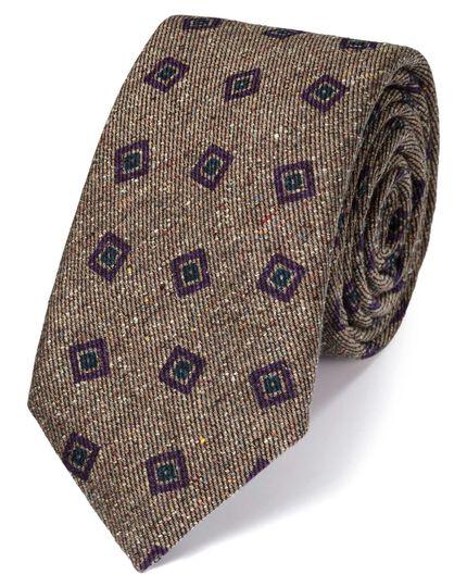 Beige silk mix printed Donegal luxury tie
