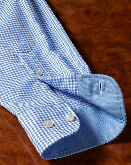 Slim fit washed blue textured check shirt