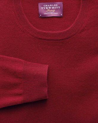Red cashmere crew neck jumper