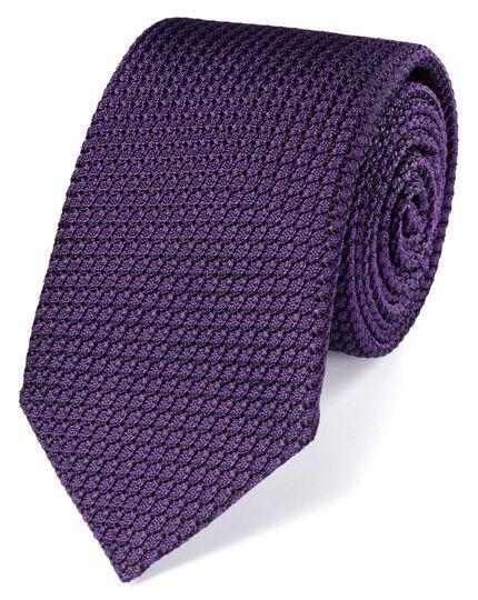 Dark purple silk plain grenadine luxury tie