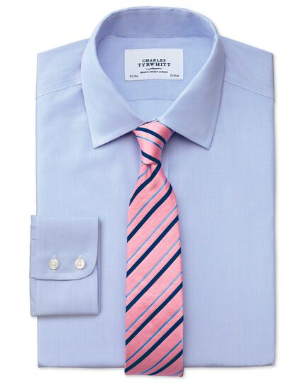 Slim fit non-iron hairline stripe sky blue shirt