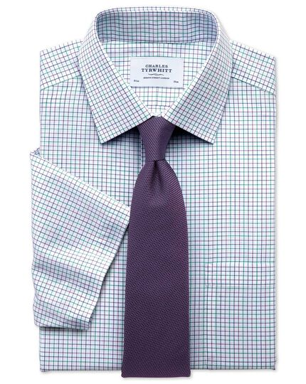 Slim fit non-iron grid check green and purple short sleeve shirt