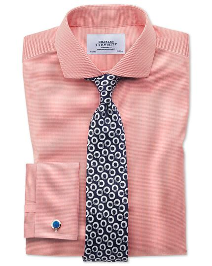 Slim fit spread collar non-iron puppytooth coral shirt