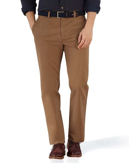 Camel slim fit flat front chinos