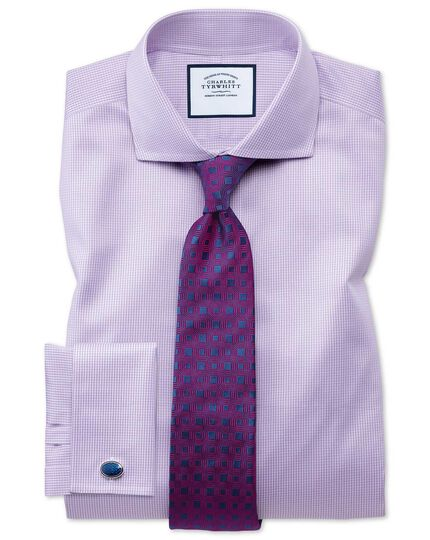 Navy and berry silk hexagon geometric English luxury tie