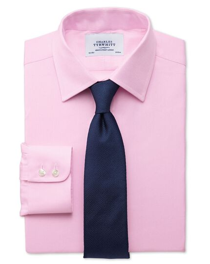 Chemise rose slim fit à petits chevrons